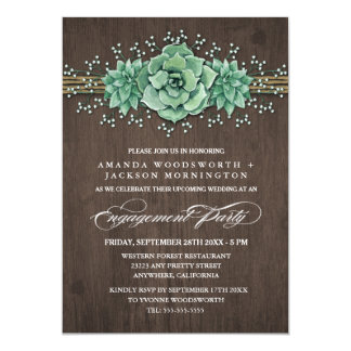 Convites rústicos da festa de noivado do Succulent