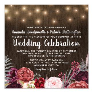 Convites rústicos do casamento da peônia de