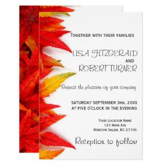 Convites rústicos do casamento outono das folhas