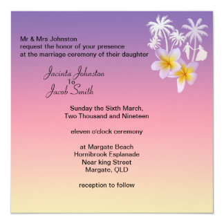Convites tropicais do casamento de praia do rosa