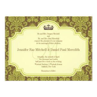 Convites verdes do damasco e do casamento do monog