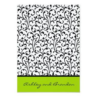 Convites verdes pretos do casamento do amarelo do