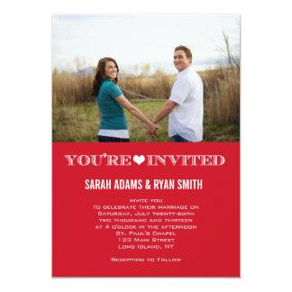 Convites vermelhos da foto do casamento do coração