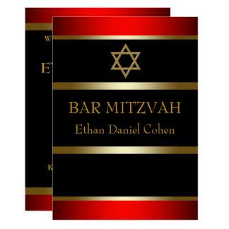 Convites vermelhos de Mitzvah do bar