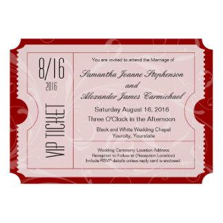 Convites vermelhos do bilhete do casamento do VIP