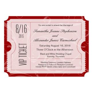Convites vermelhos do bilhete do casamento do VIP Convite 12.7 X 17.78cm