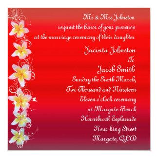 Convites vermelhos do casamento de praia do
