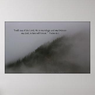 Copas de árvore no verso do impressão w Scripture