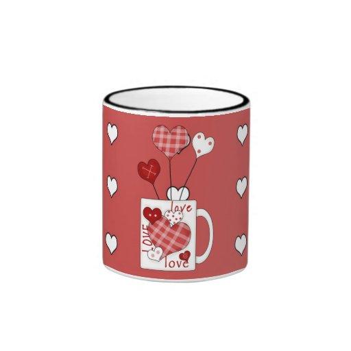 Copo de café dos corações do amor do dia dos namor caneca