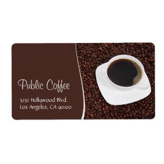 Copo de café & etiqueta de endereço dos feijões