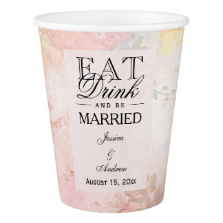 Copo De Papel Casamento sonhador romântico da flor