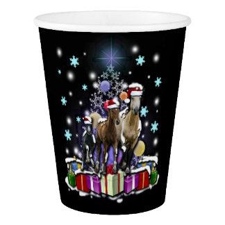 Copo De Papel Cavalos com estilos do Natal