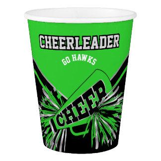 Copo De Papel Cheerleader no verde limão, na prata e no preto