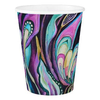"""Copo De Papel """"Copo de papel das flores"""" -2 verde & roxo, 266 ml"""