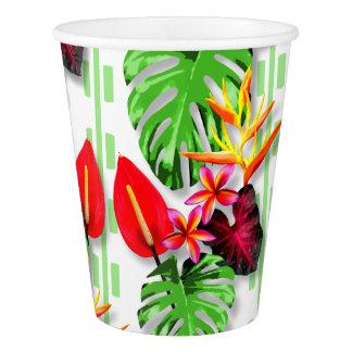 Copo De Papel Tema tropical na moda bonito da flor da folha