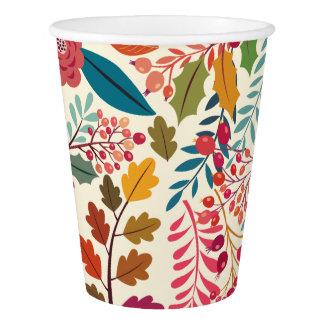 Copo De Papel Teste padrão colorido das flores & das folhas de