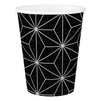 Copo De Papel Teste padrão geométrico elegante - prata & Preto