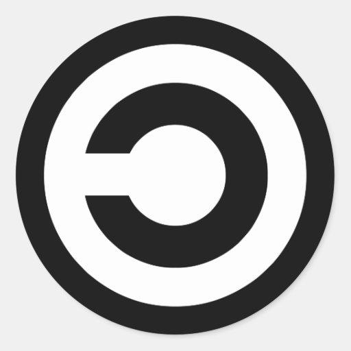 Copyleft - a informação quer estar livre adesivo em formato redondo