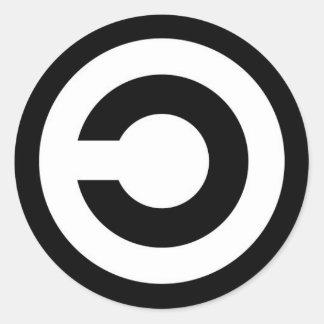 copyleft adesivo em formato redondo