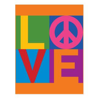 Cor-Bloco LOVE=Peace Cartões Postais