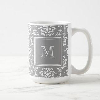 Cor damasco cinzenta 1 com monograma caneca de café