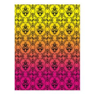 Cor damasco cor-de-rosa e amarela do ombrè cartão postal