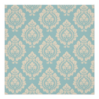 Cor damasco decorativa - creme no azul poster