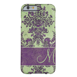 Cor damasco do vintage com monograma capa iPhone 6 barely there