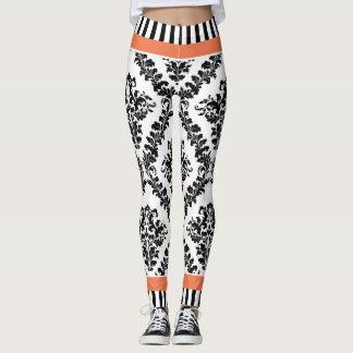 Cor damasco & listras brancas corais e pretas leggings