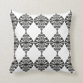Cor damasco preto e branco clássica travesseiros