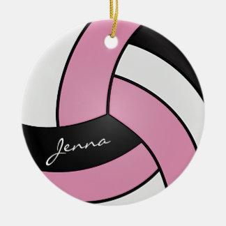 Cor-de-rosa, branco & preto personalize o voleibol ornamento de cerâmica
