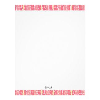cor-de-rosa e vermelho listra o cabeçalho papel de carta personalizados