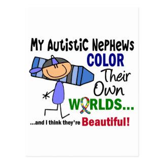 COR do autismo SEUS PRÓPRIOS sobrinho dos MUNDOS Cartão Postal