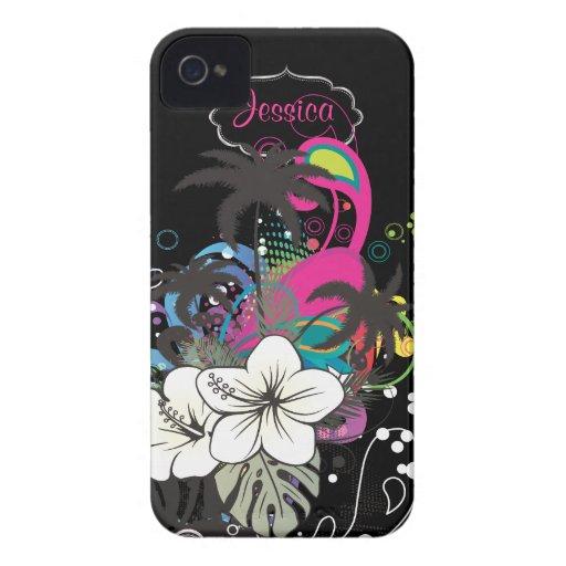 Cor retro do fundo de PixDezines Aloha/DIY iPhone 4 Capas