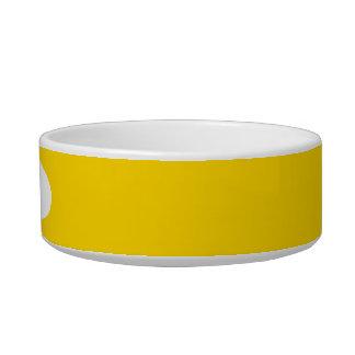 Cor sólida amarela do auto escolar tijela para gato