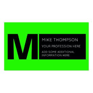 cor verde de néon ácida, moderna cartão de visita
