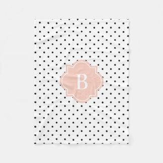 Cora a cobertura do velo do monograma dos pontos | cobertor de velo
