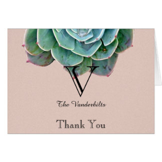 Cora o obrigado do casamento do Succulent você Cartão De Nota