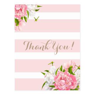Cora o obrigado floral cor-de-rosa de Peonie você Cartão Postal