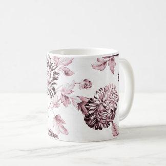 Cora o vintage cor-de-rosa & branco Toile floral Caneca De Café