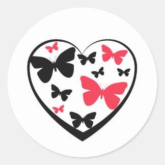 Coração aberto do preto com as borboletas adesivo