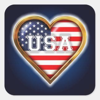 Coração americano adesivo quadrado
