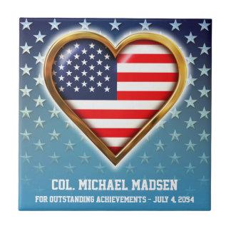 Coração americano azulejo quadrado pequeno