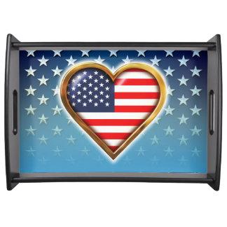 Coração americano bandejas