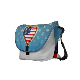 Coração americano bolsas mensageiro