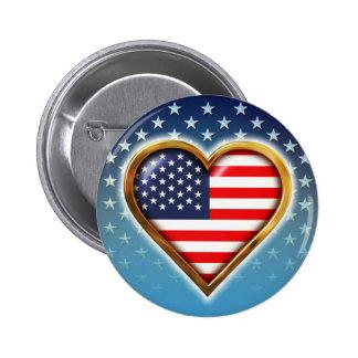 Coração americano bóton redondo 5.08cm