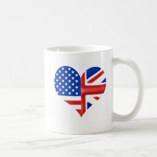 Coração americano britânico canecas