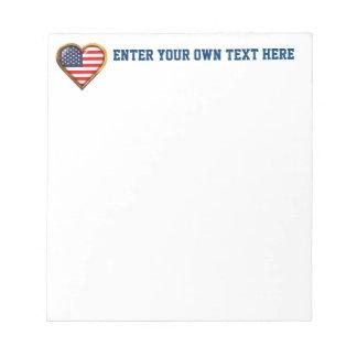 Coração americano caderno de notas