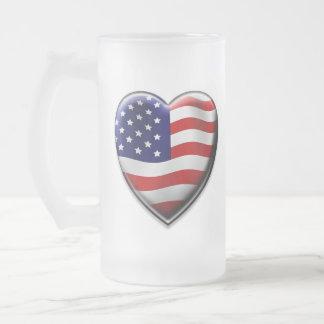 Coração americano caneca de vidro fosco