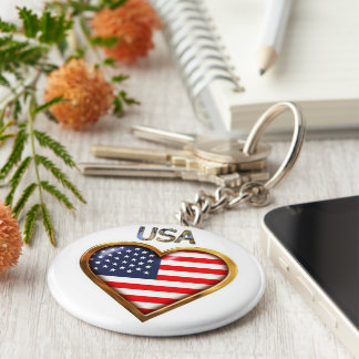 Coração americano chaveiro